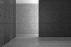 Tomt modernt badrum med gråa tegelplattor royaltyfri illustrationer