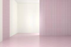 Tomt modernt badrum med purpurfärgade tegelplattor Arkivfoton