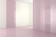 Tomt modernt badrum med purpurfärgade tegelplattor royaltyfri illustrationer