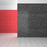 Tomt modernt badrum med vita och röda tegelplattor för svart, Royaltyfri Foto