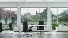 Tomt modernt kontor med tabeller och stolar som är trädgårds- utanför fönstret Bakgrundsplatta, nyckel- video bakgrund för Chroma arkivfilmer