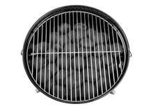 Tomt nytt galler för rengöringBBQ-kokkärl med kolbriketter Isolat royaltyfri bild