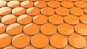 Tomt orange emblem på orange bakgrund Royaltyfri Fotografi