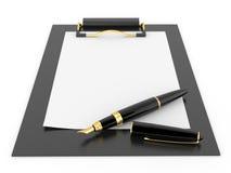 tomt paper pennark för clipboard Arkivbilder
