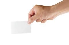 Tomt papper i mänsklig hand och vitbakgrund Fotografering för Bildbyråer