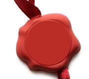 Tomt rött förseglat emblem arkivfoton