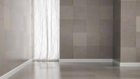 Tomt rum med granittegelplattaväggar Arkivbild