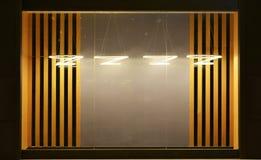 Tomt shoppa fönstret som dekoreras med ledd droplight vektor illustrationer