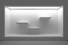 Tomt skyltfönster eller podium med belysning och ett stort fönster Arkivfoton