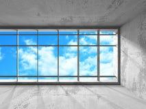 Tomt stads- tömmer ruminre med fönster till himmel Royaltyfri Bild