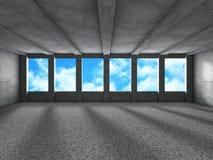 Tomt stads- tömmer ruminre med fönster till himmelbakgrund Fotografering för Bildbyråer