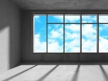 Tomt stads- tömmer ruminre med fönstret till himmel Arkivfoton