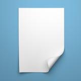 Tomt tomt ark av vitbok med det krullade hörnet Royaltyfri Fotografi