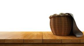 tomt träbästa för tabell som överst isoleras på vit bakgrund med korgen av den Royaltyfri Fotografi