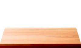 Tomt träbästa för tabell som isoleras på vit bakgrund som används för skärm eller montage dina produkter royaltyfri bild