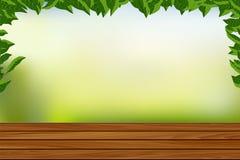 Tomt trägolv med illustrationen för naturbakgrundsvektor