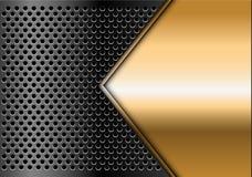 Tomt utrymme för abstrakt guld- pil på mörker - vektor för bakgrund för grå cirkelingreppsdesign modern lyxig futuristisk Royaltyfri Foto