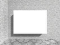 Tomt vitt affischtavlabaner på den konkreta stenväggen Arkivbilder