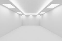 Tomt vitt rum med fyrkantig sikt för perspektiv för takljus Royaltyfria Bilder