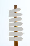 Tomt wood tecken som isoleras på vit Arkivfoto