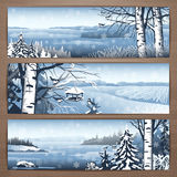 Tomtit banners 1. Winter thematic  banners design with great wild snowy landscapes and falling snowflakes. Brochure,flyer,booklet,card template for product Stock Photo