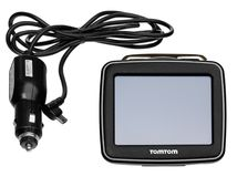 TomTom GPS car navigation with handle. Black electronic map devi. Ce with blue screen and silver border. Satellite navigation device on white background royalty free stock photography