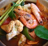 Tomyam seafood. A very delicious, spicy food royalty free stock photo