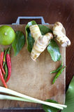 Tomyum ingredients on cutting board Royalty Free Stock Photography