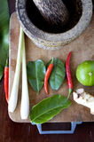Tomyum ingredients with mortar Royalty Free Stock Photos