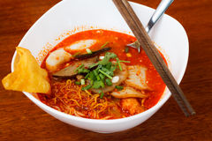 Tomyum noodle. On wooden table Royalty Free Stock Images
