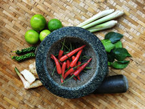 TOMYUM, Thai food seasoning ingredients. LIME, PEPPER, LEMON GRASS, CHILLI Stock Photo