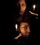 Tonårig flicka med en stearinljus Royaltyfria Bilder