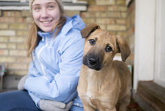 Tonårig flicka med en ung rolig hund Arkivfoto