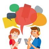 Tonårig flicka- och pojkeMessagingvektor Meddela på internet Prata på nätverk Använda Smartphone Pratstundbubblor vektor illustrationer