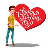 Tonårig hjärta för dag för Guy Carrying A stor tung valentin s i handvektor illustration vektor illustrationer
