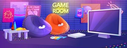 Tonårig inre för modigt rum Lekvideospel på konsolen med bekväma fåtöljer och mellanmål för gamers royaltyfri illustrationer