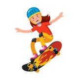 Tonårig pojke i bärande hjälmbanhoppning på skateboarden stock illustrationer
