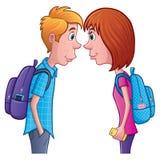 Tonårig pojke och flicka som stirrar på de royaltyfri bild