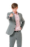 Tonårig pojke som pekar till dig Arkivbild