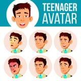 Tonårig vektor för pojkeAvataruppsättning Asiatiska framsidasinnesrörelser Ansiktsbehandling folk positivt Head illustration för  stock illustrationer