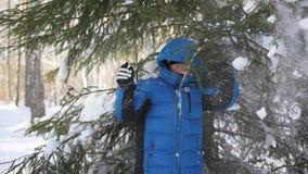 Tonåriga kast av snö från trädfilialer i en solig dag lager videofilmer
