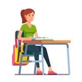 Tonårigt studentflickasammanträde på hennes skolaskrivbord royaltyfri illustrationer