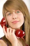 tonåring för flickatelefonred Royaltyfria Bilder