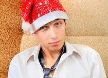 Tonåring i Santa Hat royaltyfria bilder