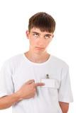 Tonåring med det tomma emblemet arkivfoton