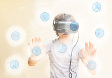 Tonåring som bär VR-exponeringsglas vektor illustrationer