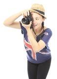 Tonåring som tar ett foto royaltyfria foton