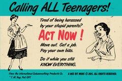 Tonåringar agerar nu! Retro tappningaffisch Royaltyfri Foto