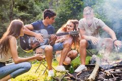 Tonåringar som campar i skog Royaltyfri Foto