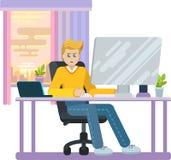 Tonåringen sitter på datoren Arkivbild